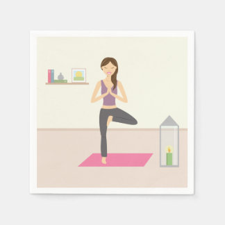 Beautiful Woman Doing Yoga In A Decorated Room Paper Serviettes