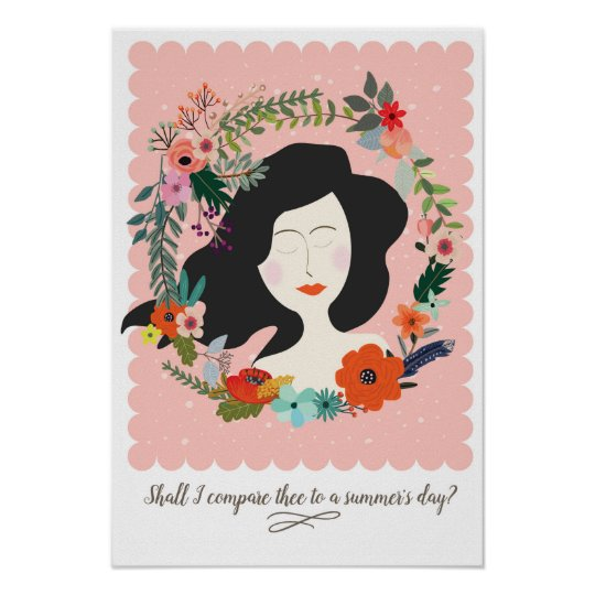 Beautiful Woman Dreaming in Flowers Poster