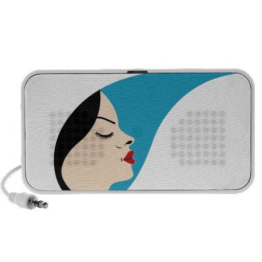 Beautiful woman in a droplet iPod speaker