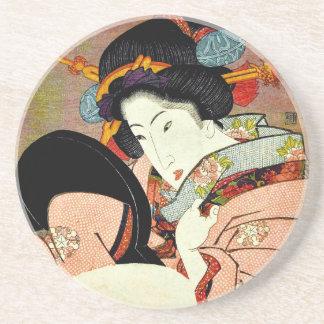 Beautiful Woman in Mirror by Utagawa Kunimaru Coaster