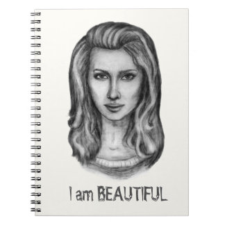 Beautiful woman. Pencil drawings Notebook