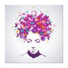 Beautiful woman portrait with butterfly hair canvas print