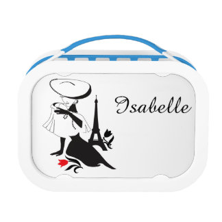Beautiful woman vintage silhouette with a big hat lunch box
