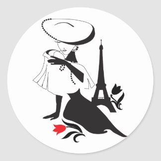 Beautiful woman vintage silhouette with a big hat round sticker