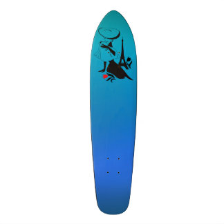 Beautiful woman vintage silhouette with a big hat skateboards