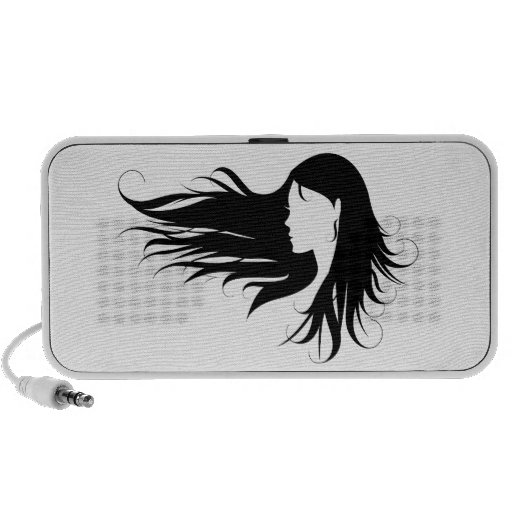 Beautiful woman with black curly hair iPhone speakers