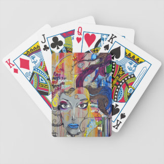 Beautiful woman with blue lips graffiti bicycle playing cards