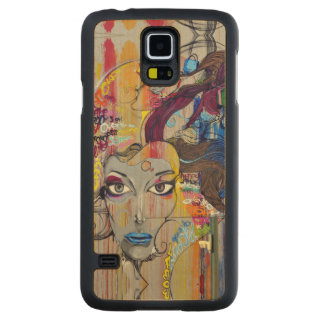 Beautiful woman with blue lips graffiti carved maple galaxy s5 case
