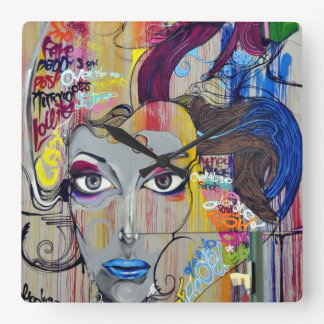 Beautiful woman with blue lips graffiti clock