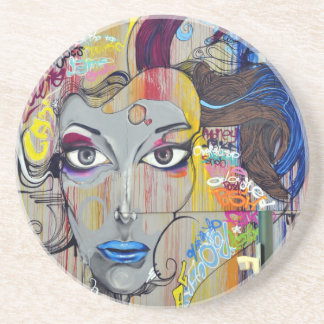 Beautiful woman with blue lips graffiti coaster