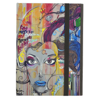 Beautiful woman with blue lips graffiti iPad air cover