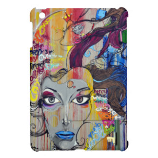 Beautiful woman with blue lips graffiti iPad mini cover