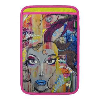 Beautiful woman with blue lips graffiti MacBook sleeves