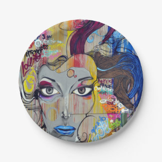 Beautiful woman with blue lips graffiti paper plate