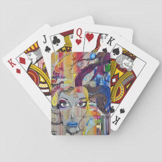 Beautiful woman with blue lips graffiti playing cards