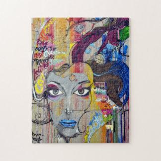Beautiful woman with blue lips graffiti puzzle