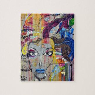 Beautiful woman with blue lips graffiti puzzles