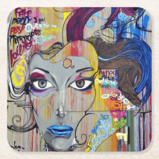 Beautiful woman with blue lips graffiti square paper coaster