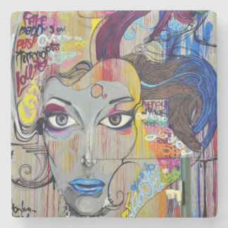 Beautiful woman with blue lips graffiti stone coaster