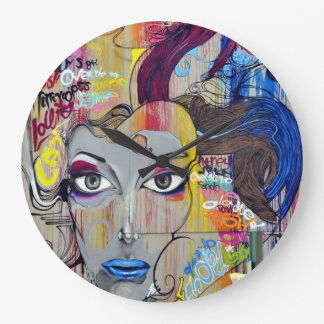 Beautiful woman with blue lips graffiti wall clock