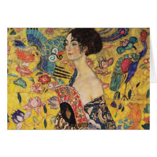 Beautiful Woman with Fan by Klimt Card