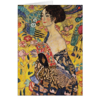 Beautiful Woman with Fan by Klimt Greeting Card