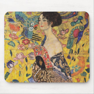 Beautiful Woman with Fan by Klimt Mouse Pad