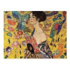 Beautiful Woman with Fan by Klimt Postcard