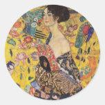 Beautiful Woman with Fan by Klimt Round Sticker