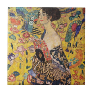Beautiful Woman with Fan by Klimt Small Square Tile