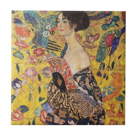 Beautiful Woman with Fan by Klimt Tile