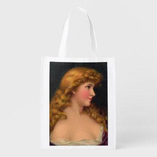 beautiful woman with long hair print reusable grocery bag