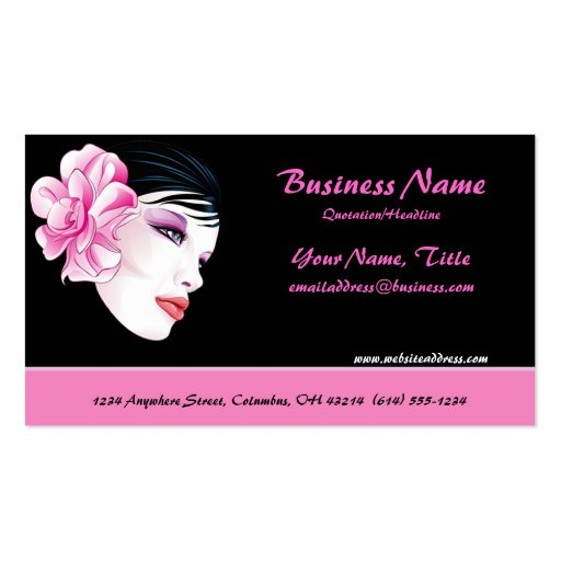 Beautiful Woman with Striking Flower Business Card