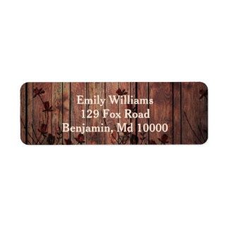 Beautiful Wood and Red Faux Lace Return Address Label
