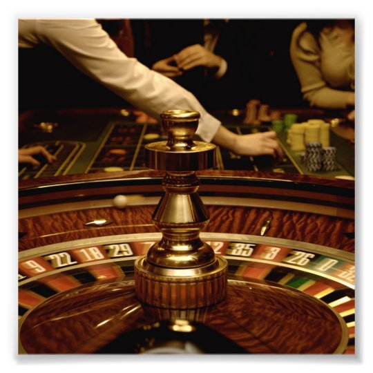 Beautiful Wooden Roulette Wheel Photo Print