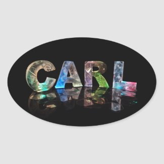 Beautiful Words - Carl in 3D Lights Oval Stickers