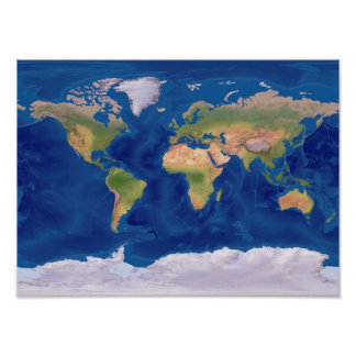 Beautiful World Relief Map Poster