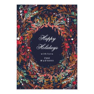 Beautiful Wreath Happy Holidays Floral 13 Cm X 18 Cm Invitation Card