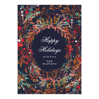 Beautiful Wreath Happy Holidays Floral Card