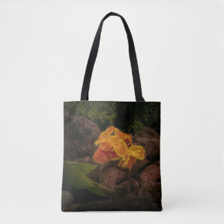 Beautiful yellow and gold flower on tote bag