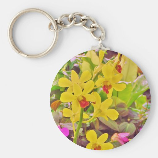 Beautiful Yellow autumn orchids Keychains