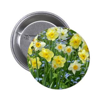 Beautiful yellow daffodil garden 6 cm round badge