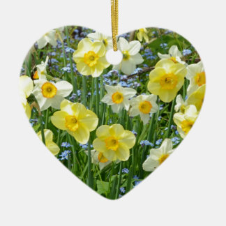 Beautiful yellow daffodil garden ceramic heart decoration