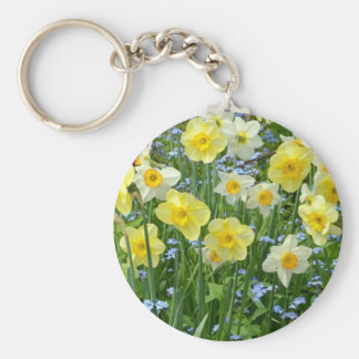 Beautiful yellow daffodil garden key ring