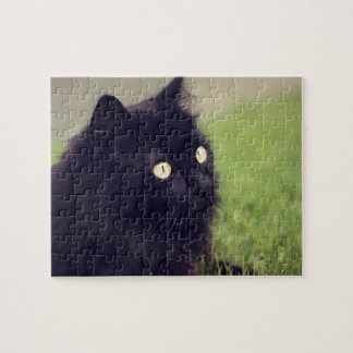 Beautiful Yellow Eyed Black Cat Puzzles