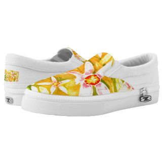Beautiful Yellow Floral Watercolor Slip On Shoes