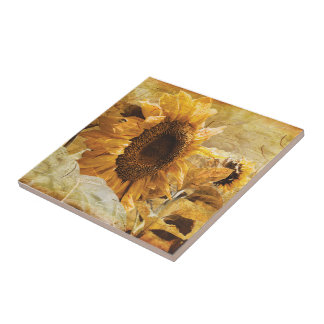 Beautiful Yellow Giant Sunflower Photo Art Tile