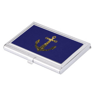 Beautiful Yellow Gold sparkles Anchor Business Card Holder