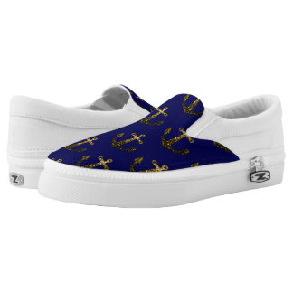 Beautiful Yellow Gold sparkles Anchor pattern blue Slip On Shoes