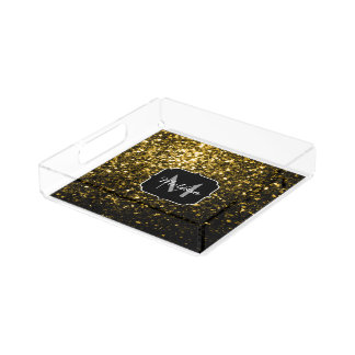 Beautiful Yellow Gold sparkles Monogram Acrylic Tray